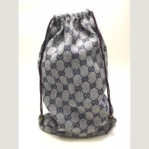 Gucci gray/blue GG print drawstring bag VINTAGE